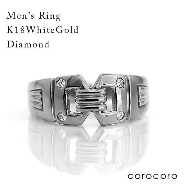 お歳暮 ホワイトゴールドダイヤモンドリングK18WG指輪男が憧れるメンズリング, アクアofサイエンス a94b5de5