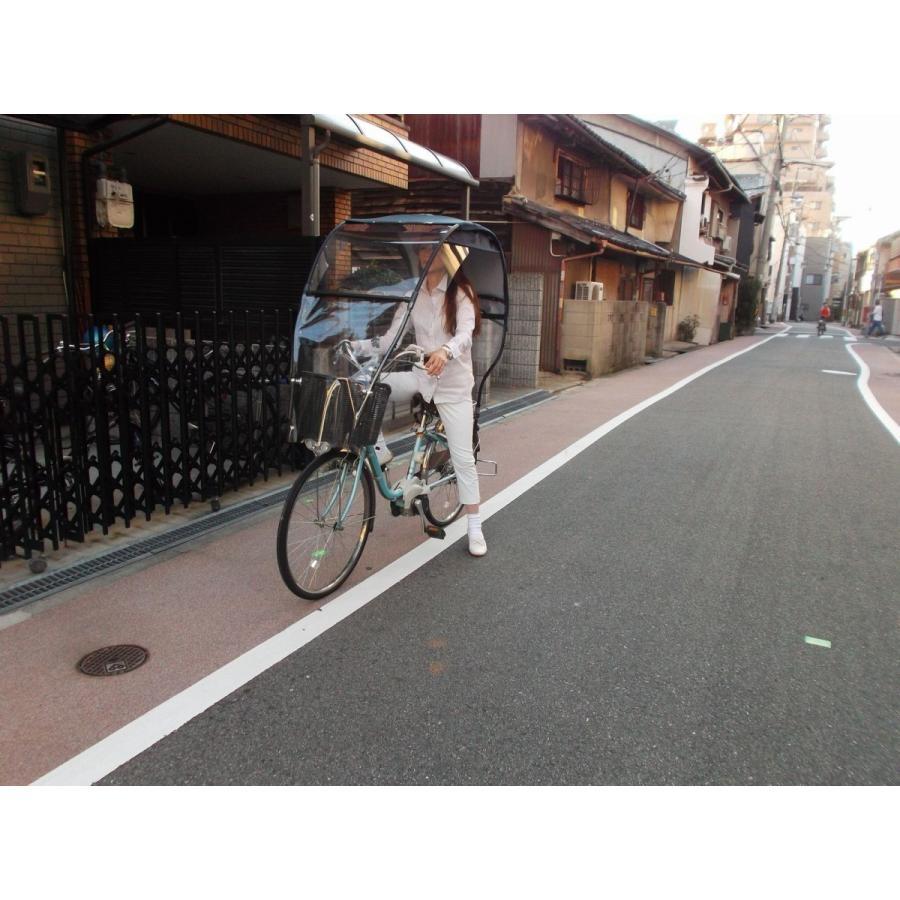UVカット 雨除け 風よけ 自転車 カバー  用品 グッズ パーティション テント 手動ワイパー  紺色生地 屋根 カスタムPNKw