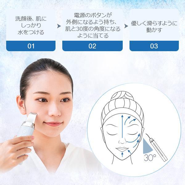 ウォーターピーリング 美顔器 超音波 アクリアルピーリング1.0 ホワイトマスク30枚付き ビューティースペシャルセット ラッピング対応 1年保証 【hawks202110】 cosbeauty-japan 05