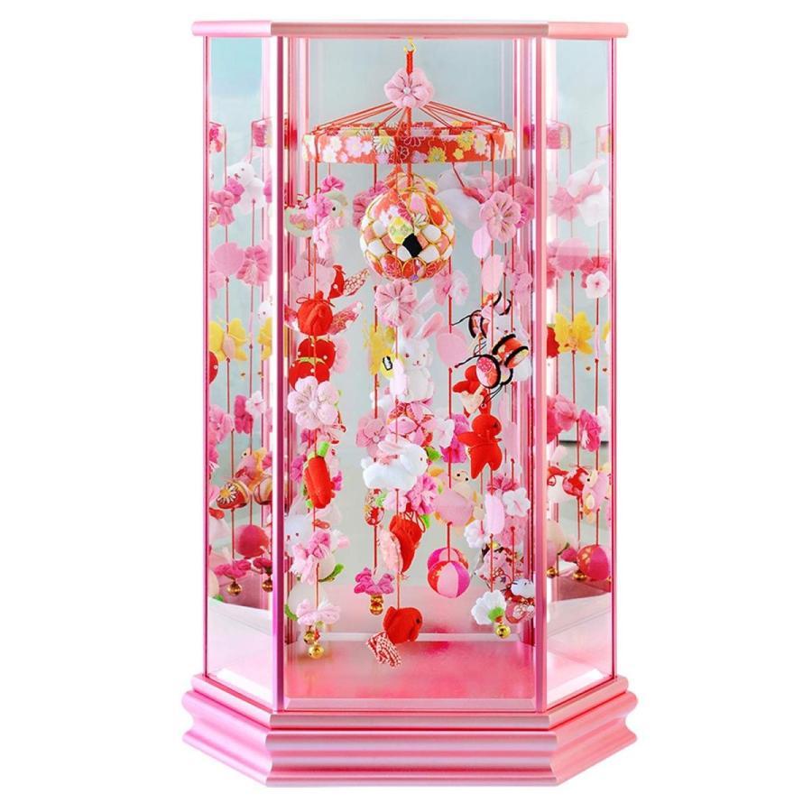 つるし雛 つるし飾り 雛人形 六角ケース飾り うさぎなでしこ 中サイズ 幅34cm×奥行き24cm×高さ57cm ピンク塗ケース