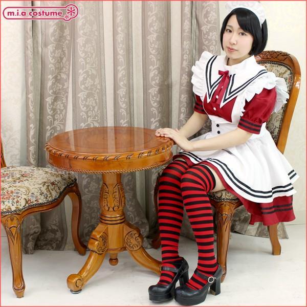 1201H▲【送料無料・即納】 ボーダーニーハイ1cm 色:赤×黒 サイズ:フリー|cosplaymode|04