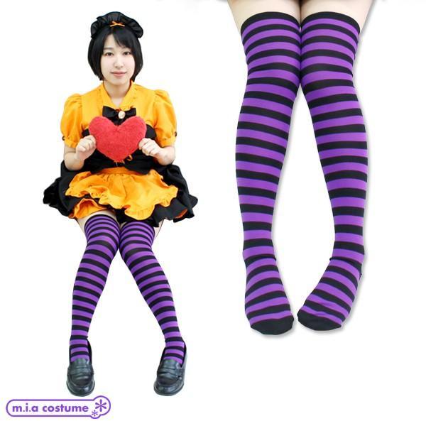 1201F▲【送料無料・即納】 ボーダー ニーハイ 1cm 色:紫×黒 サイズ:フリー|cosplaymode