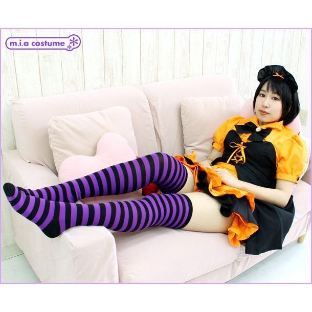 1201F▲【送料無料・即納】 ボーダー ニーハイ 1cm 色:紫×黒 サイズ:フリー|cosplaymode|05