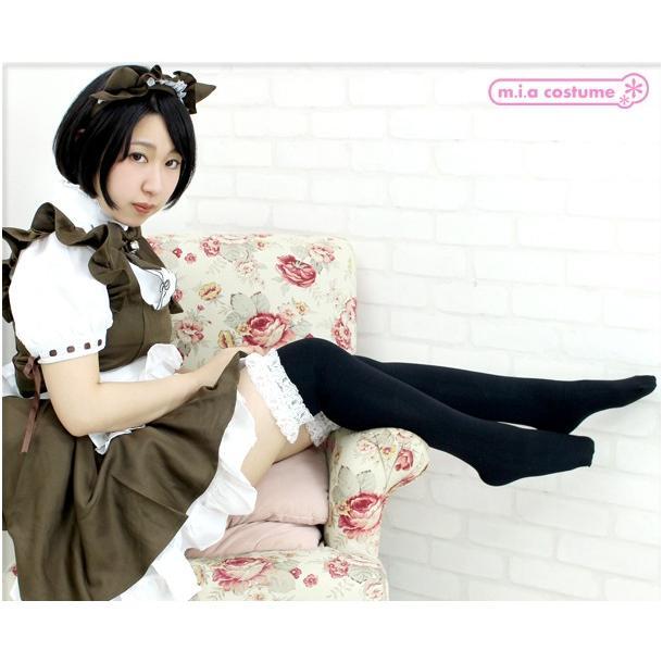 1202I▲【送料無料・即納】 レース付きニーハイ 色:黒×白 サイズ:フリー cosplaymode 05