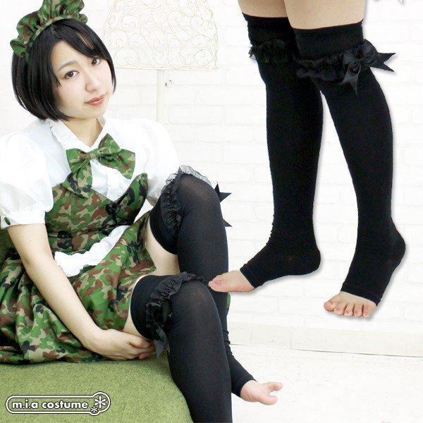 1261B▲【送料無料・即納】 リボンレース付きトゥレスオーバーニー 色:ブラック×ブラック サイズ:23-25cm cosplaymode