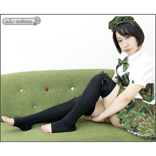 1261B▲【送料無料・即納】 リボンレース付きトゥレスオーバーニー 色:ブラック×ブラック サイズ:23-25cm cosplaymode 05