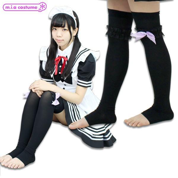 1261B▲【送料無料・即納】 リボンレース付きトゥレスオーバーニー 色:ブラック×パープル サイズ:23-25cm|cosplaymode