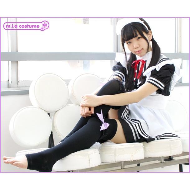 1261B▲【送料無料・即納】 リボンレース付きトゥレスオーバーニー 色:ブラック×パープル サイズ:23-25cm|cosplaymode|05