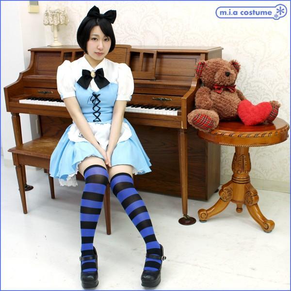 1220E▲【送料無料・即納】 ニーハイボーダー 幅:3cm 色:ブルー×黒 サイズ:フリー|cosplaymode|04