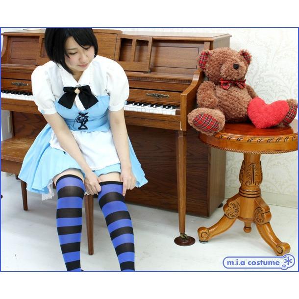1220E▲【送料無料・即納】 ニーハイボーダー 幅:3cm 色:ブルー×黒 サイズ:フリー|cosplaymode|05