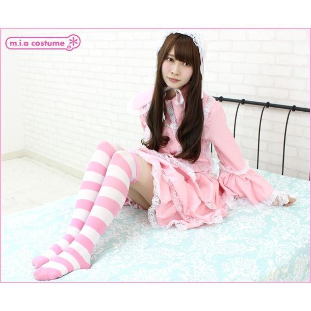 1220D▲【送料無料・即納】 ニーハイボーダー 幅:3cm 色:ピンク×白 サイズ:フリー cosplaymode 05