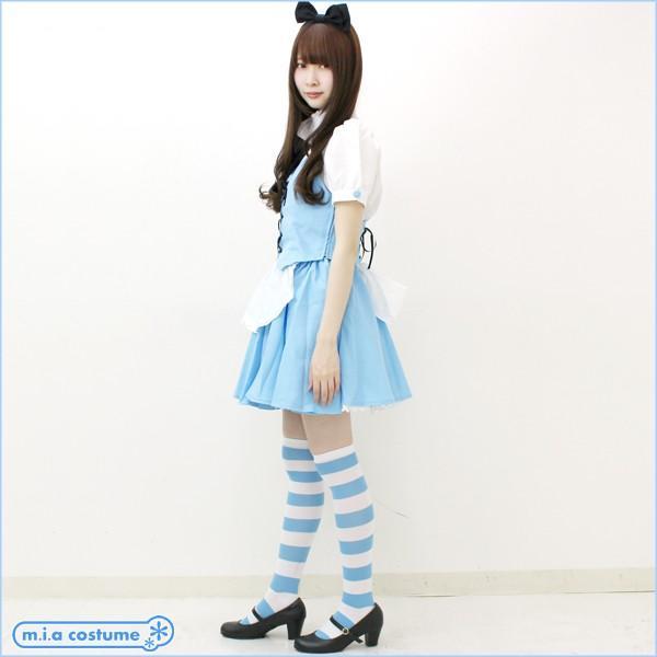 1220D▲【送料無料・即納】 ニーハイボーダー 幅:3cm 色:サックスブルー×白 サイズ:フリー しまニーハイ 水色 アリス風|cosplaymode|04