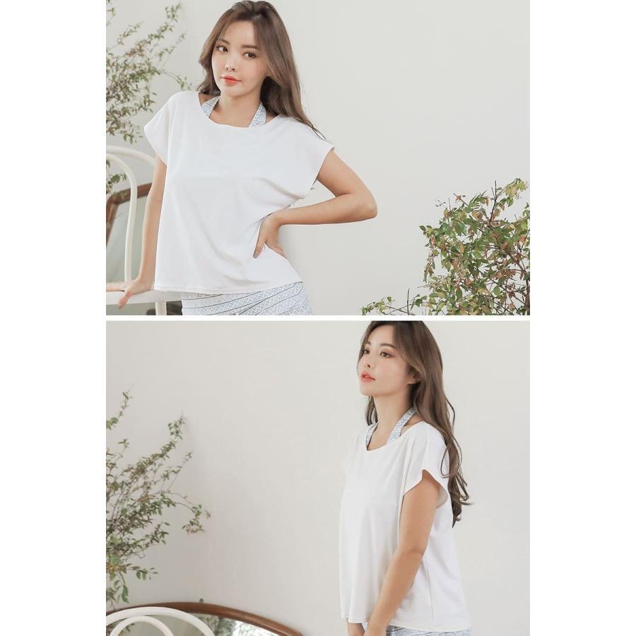 水着 レディース 体型カバー オトナ女子 ラッシュガード オーバーTシャツ Tシャツ 紫外線対策 日焼け対策 UVカット UPF50+ 白 黒|cotaron-shop|10