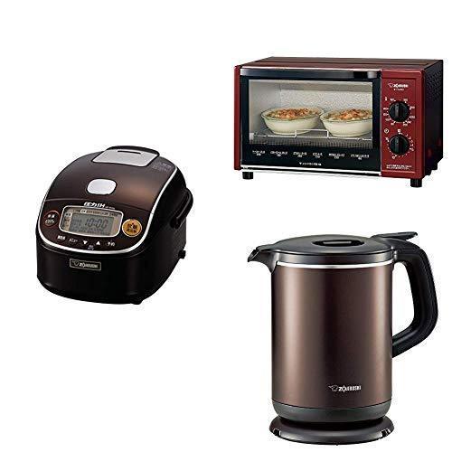 新生活3点セット買い象印 炊飯器 圧力IH式 3合 ダークブラウン + トースター + 電気ケトル