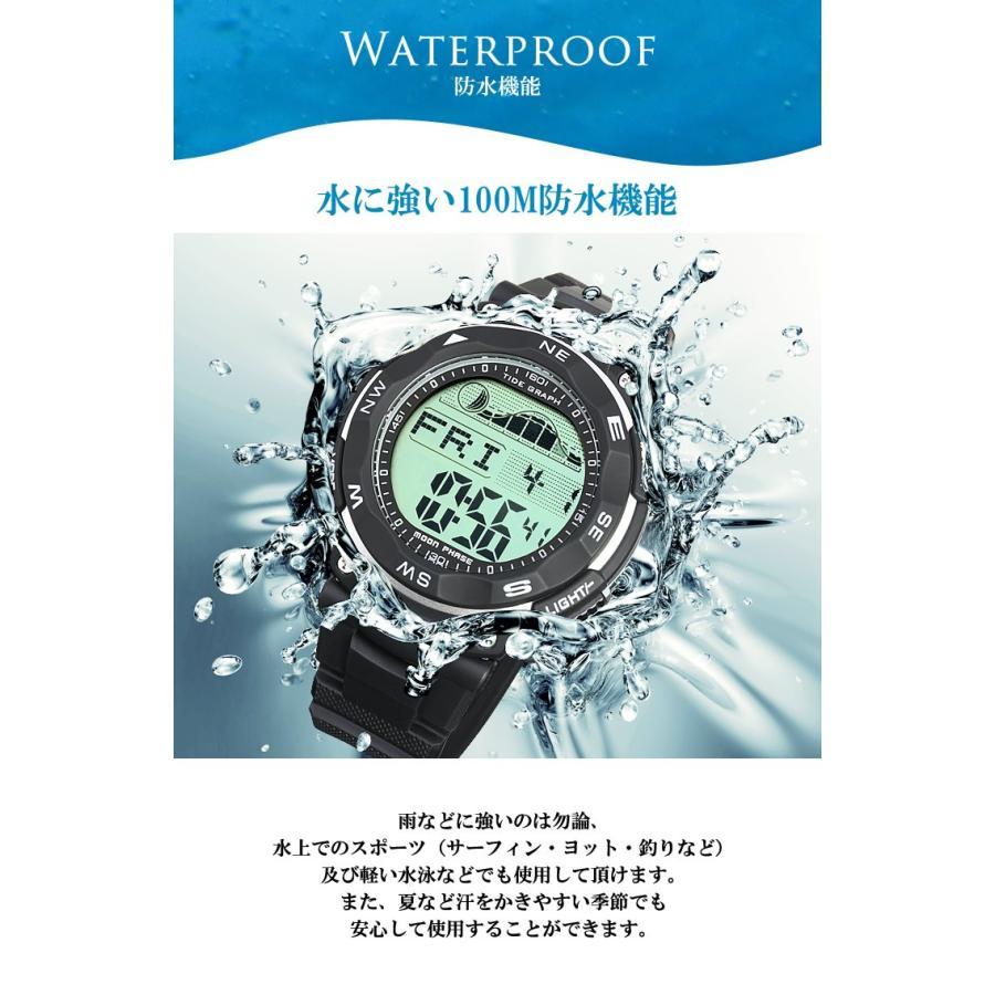 腕時計 メンズ ダイバーズウォッチ スポーツウォッチ 100m 防水 デジタル時計 デジタル 時計 アウトドア 釣り サーフィン|courage|06