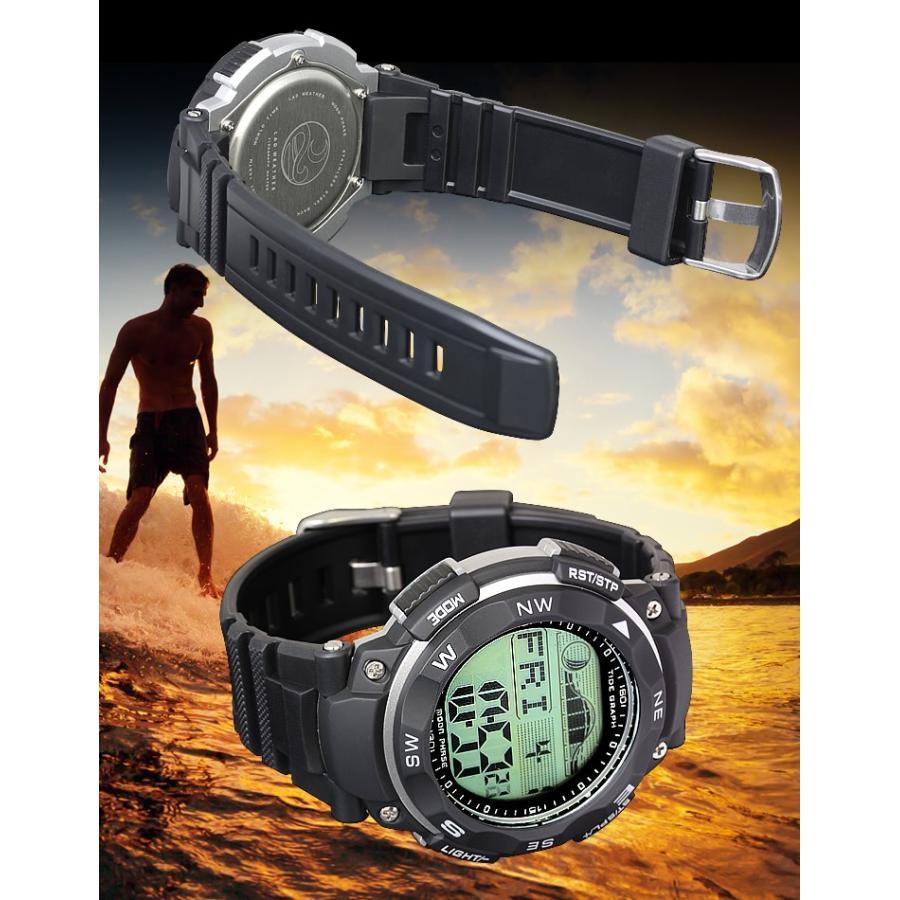 腕時計 メンズ ダイバーズウォッチ スポーツウォッチ 100m 防水 デジタル時計 デジタル 時計 アウトドア 釣り サーフィン|courage|08