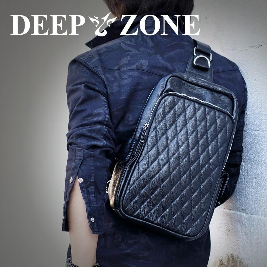 ボディバッグ メンズ 本革 レザー Deep Zone キルティング加工 スクエア ビックサイズボディバッグ オイルシュリンク レザー プレゼント ギフト|cowbell