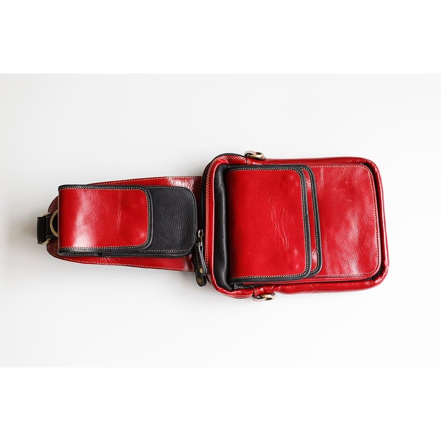 ボディバッグ メンズ 本革 レザー イタリアンレザー Deep Zone スマホポケット付き ダブルフラップ レッド プレゼント ギフト cowbell 06