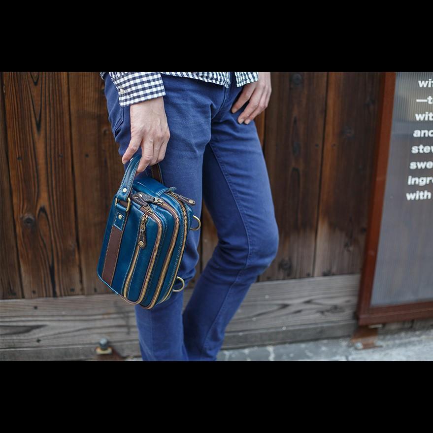 ショルダーバッグ セカンドバッグ メンズ 2way ユニセックス 本革 レザー レザー イタリアンレザー ブルー Deep Zone プレゼント ギフト|cowbell|12