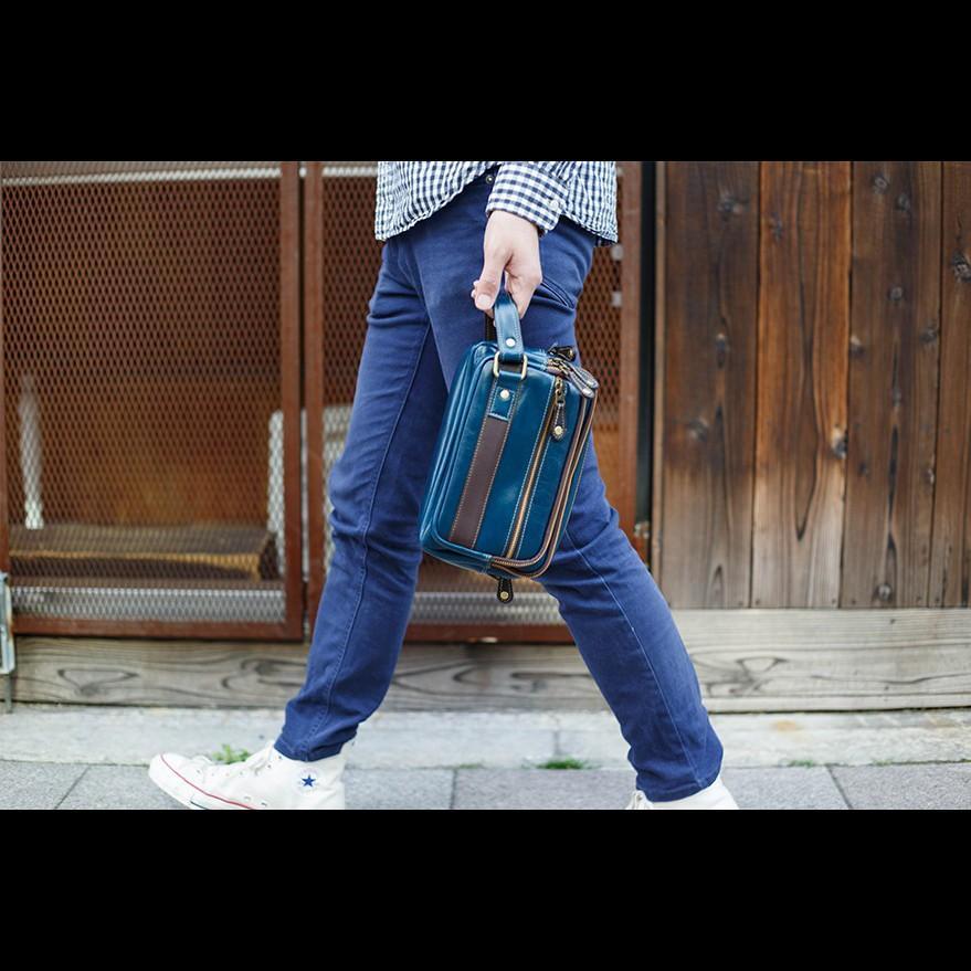 ショルダーバッグ セカンドバッグ メンズ 2way ユニセックス 本革 レザー レザー イタリアンレザー ブルー Deep Zone プレゼント ギフト|cowbell|14