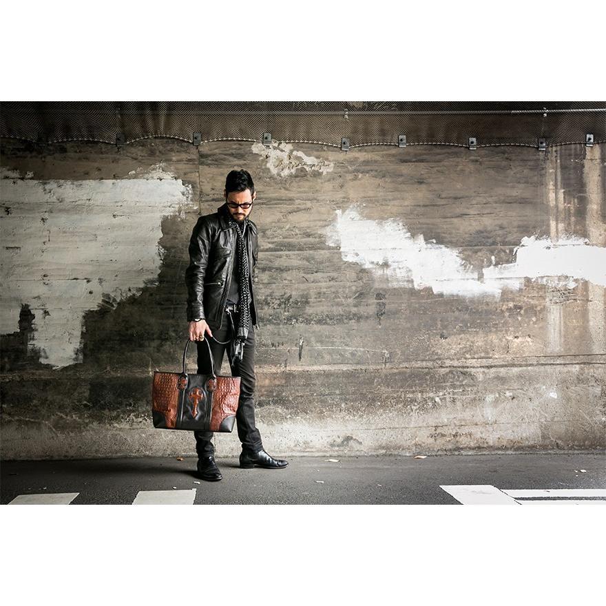 トートバッグ メンズ カジュアル ビジネス 本革 レザー イタリアンレザー クロコダイル型押し Deep Zone プレゼント ギフト|cowbell|02