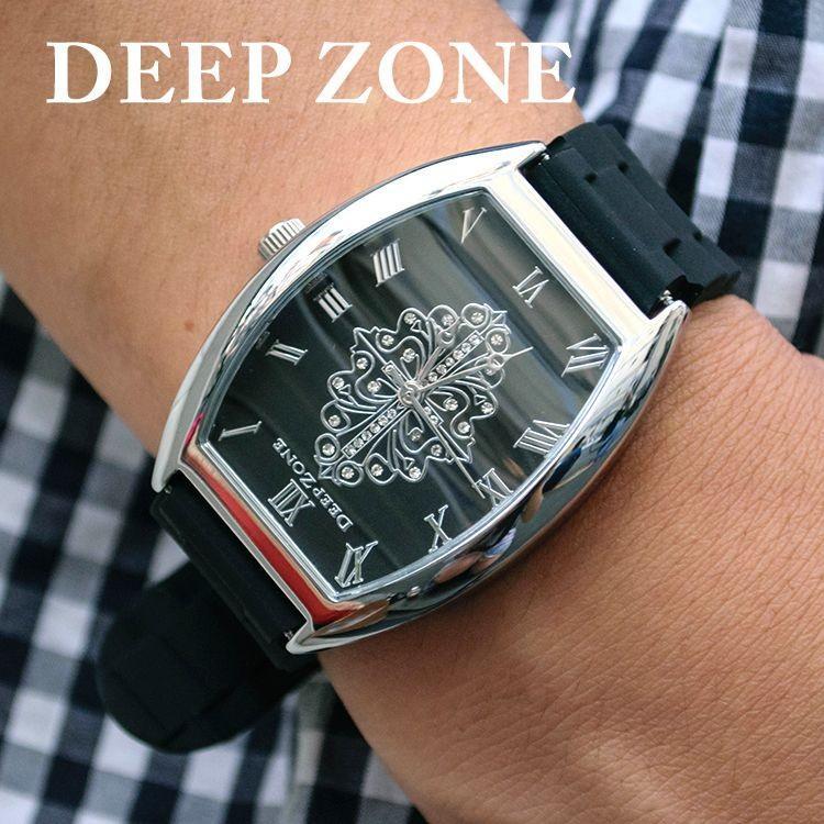 腕時計 ブレスウォッチ ラバーブレス Deep Zone トノーフェイス ジルコニア シルバーフェイス リリィコンチョ 専用ボックスあり プレゼント ギフト cowbell
