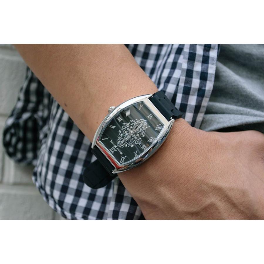 腕時計 ブレスウォッチ ラバーブレス Deep Zone トノーフェイス ジルコニア シルバーフェイス リリィコンチョ 専用ボックスあり プレゼント ギフト cowbell 02