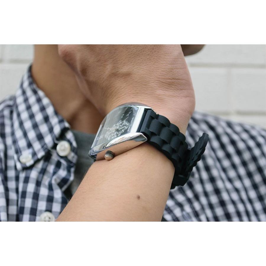 腕時計 ブレスウォッチ ラバーブレス Deep Zone トノーフェイス ジルコニア シルバーフェイス リリィコンチョ 専用ボックスあり プレゼント ギフト cowbell 03