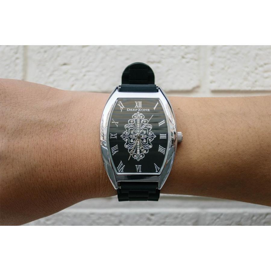 腕時計 ブレスウォッチ ラバーブレス Deep Zone トノーフェイス ジルコニア シルバーフェイス リリィコンチョ 専用ボックスあり プレゼント ギフト cowbell 04