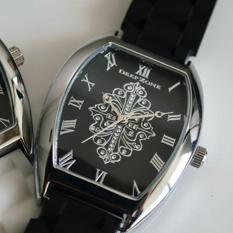 腕時計 ブレスウォッチ ラバーブレス Deep Zone トノーフェイス ジルコニア シルバーフェイス リリィコンチョ 専用ボックスあり プレゼント ギフト cowbell 06