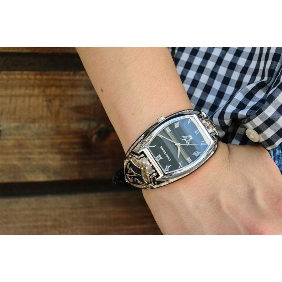 腕時計 ブレスウォッチ パイソンレザーベルト Deep Zone トノーフェイス ブラックフェイス スネークレザーベルト 専用ケース付属 プレゼント ギフト|cowbell|02