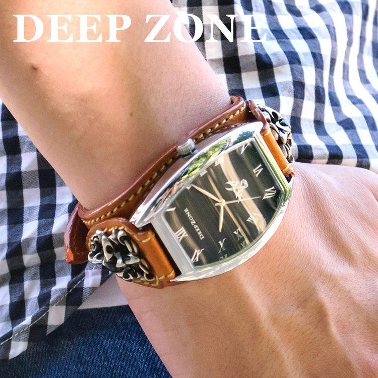 腕時計 ブレスウォッチ イタリアンレザーベルト Deep Zone トノーフェイス ブラックフェイス ブラウンベルト クロスコンチョ 専用ケース付属 ギフト cowbell