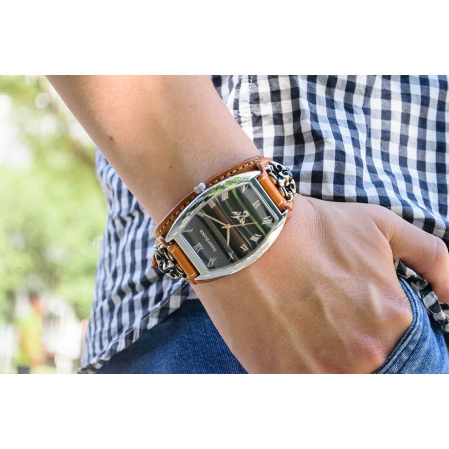 腕時計 ブレスウォッチ イタリアンレザーベルト Deep Zone トノーフェイス ブラックフェイス ブラウンベルト クロスコンチョ 専用ケース付属 ギフト cowbell 02