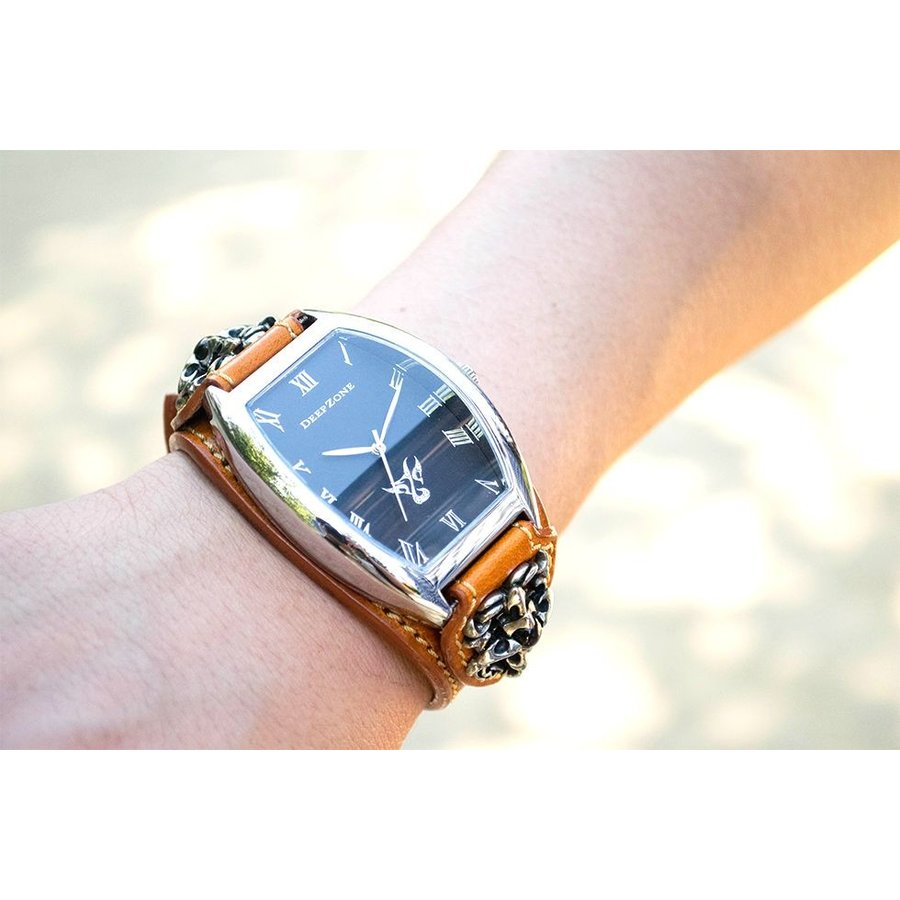 腕時計 ブレスウォッチ イタリアンレザーベルト Deep Zone トノーフェイス ブラックフェイス ブラウンベルト クロスコンチョ 専用ケース付属 ギフト cowbell 03
