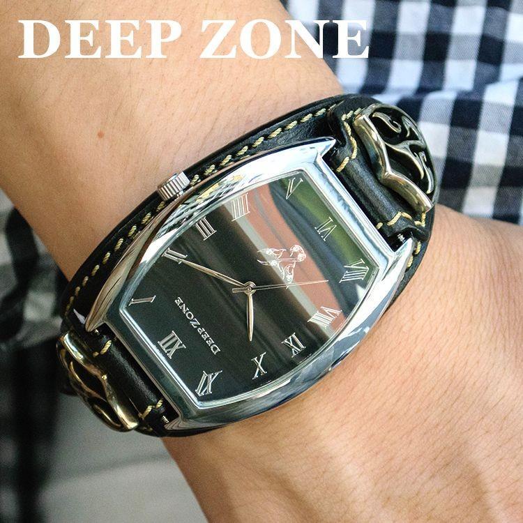 腕時計 ブレスウォッチ イタリアンレザーベルト Deep Zone トノーフェイス ブラックフェイス ブラックベルト ロゴコンチョ 専用ケース付属 ギフト cowbell