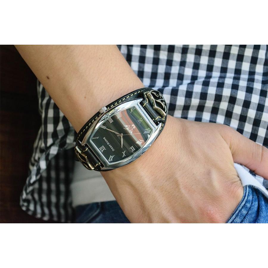 腕時計 ブレスウォッチ イタリアンレザーベルト Deep Zone トノーフェイス ブラックフェイス ブラックベルト ロゴコンチョ 専用ケース付属 ギフト cowbell 02