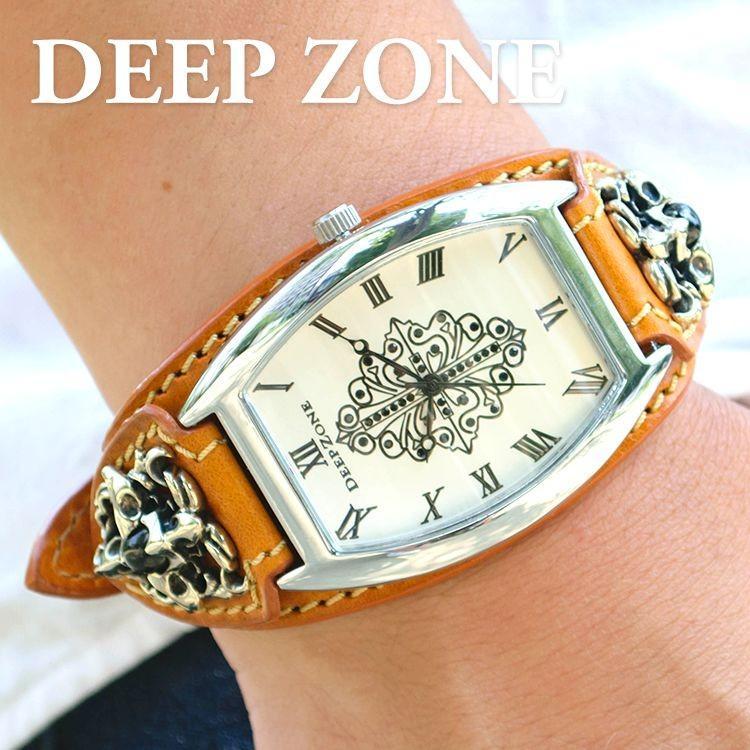腕時計 ブレスウォッチ イタリアンレザーベルト Deep Zone トノーフェイス ジルコニア ホワイトフェイス ブラウンベルト クロスコンチョ 専用ケース cowbell