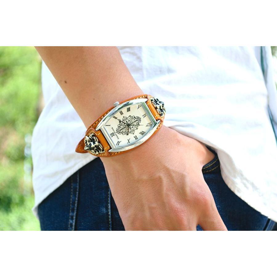 腕時計 ブレスウォッチ イタリアンレザーベルト Deep Zone トノーフェイス ジルコニア ホワイトフェイス ブラウンベルト クロスコンチョ 専用ケース cowbell 02