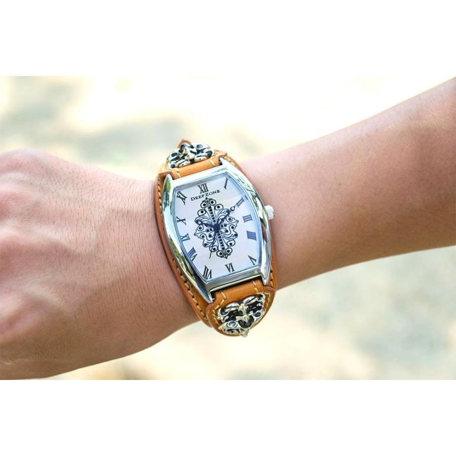 腕時計 ブレスウォッチ イタリアンレザーベルト Deep Zone トノーフェイス ジルコニア ホワイトフェイス ブラウンベルト クロスコンチョ 専用ケース cowbell 04