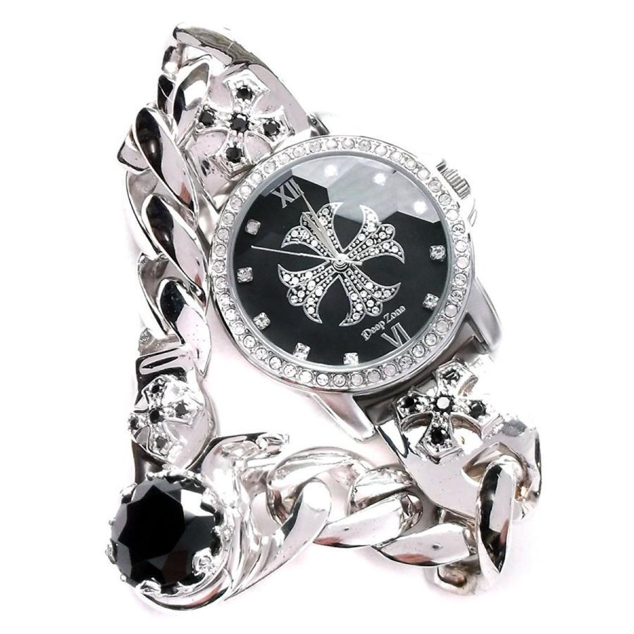 腕時計 メンズ カジュアル ビジネス ブラス チェーンクリップ ブレスレット ジルコニアクロス文字盤 ウォッチ ブラックジルコニア 保証書付き ギフト|cowbell