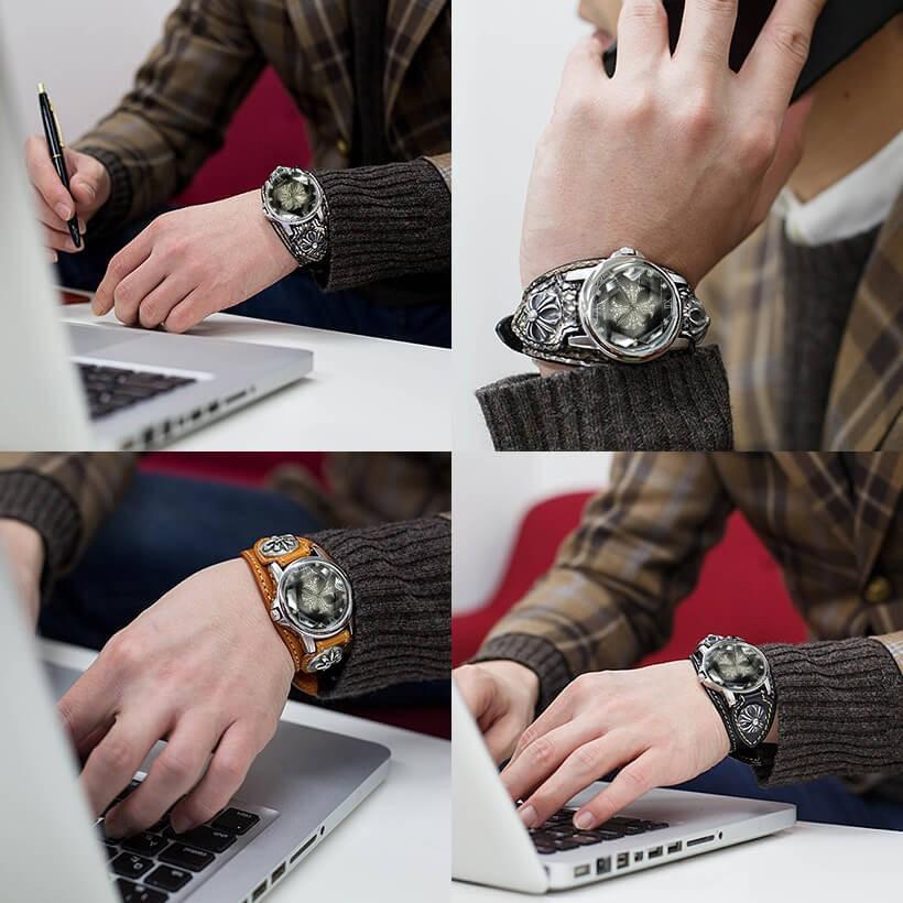 メンズ腕時計  カジュアル ビジネス ホワイトレザーブレスウォッチ 本革 レザー ベルト牛革 ジルコニアクロス ホワイトメタルコンチョ プレゼント ギフト|cowbell|12