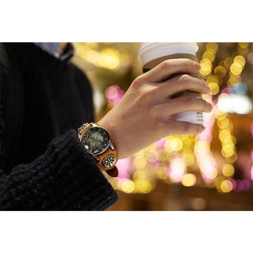 メンズ腕時計  カジュアル ビジネス ホワイトレザーブレスウォッチ 本革 レザー ベルト牛革 ジルコニアクロス ホワイトメタルコンチョ プレゼント ギフト|cowbell|18