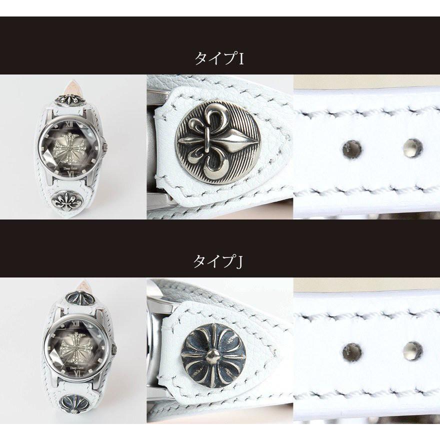メンズ腕時計  カジュアル ビジネス ホワイトレザーブレスウォッチ 本革 レザー ベルト牛革 ジルコニアクロス ホワイトメタルコンチョ プレゼント ギフト|cowbell|05