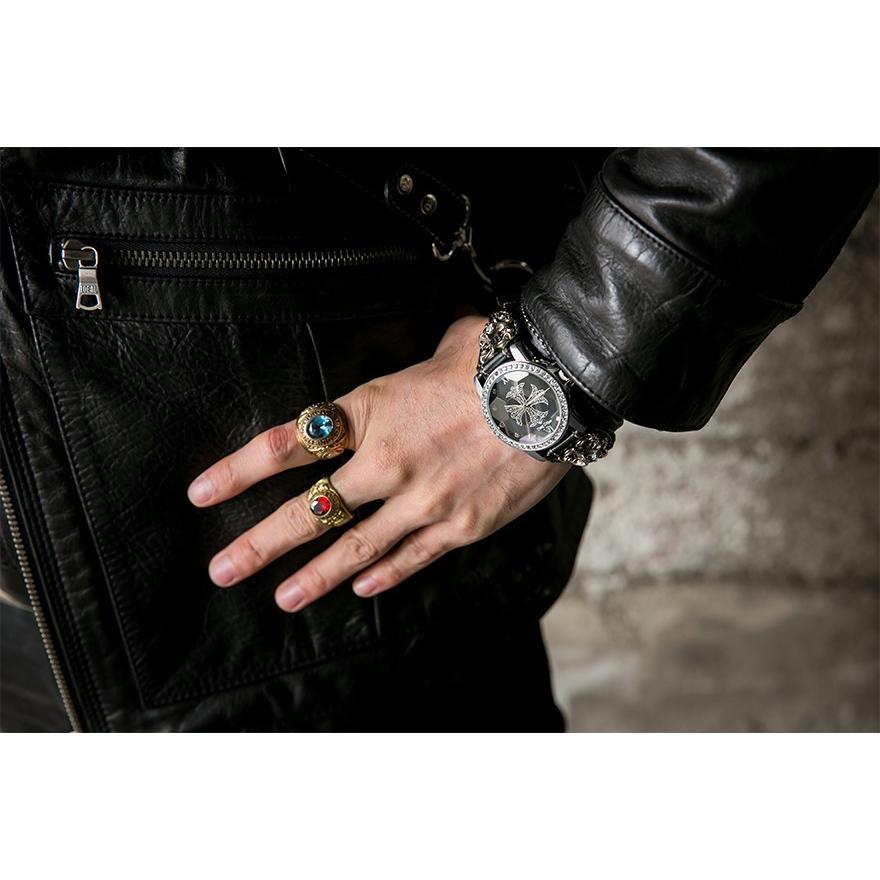 腕時計 ブレスウォッチ メンズ カジュアル ビジネス ジルコニアクロス パイソンレザー スネークレザー 蛇 DEEP ZONE プレゼント ギフト|cowbell|02