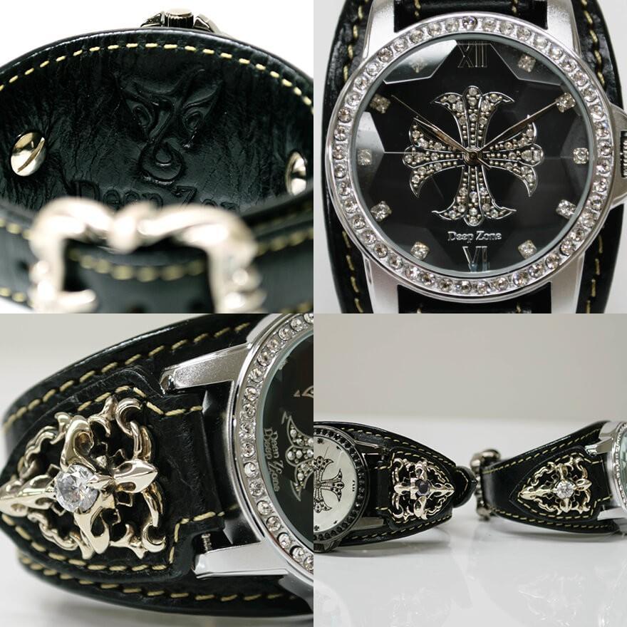 腕時計 ブレスウォッチ メンズ カジュアル ビジネス ジルコニアクロス パイソンレザー スネークレザー 蛇 DEEP ZONE プレゼント ギフト|cowbell|08