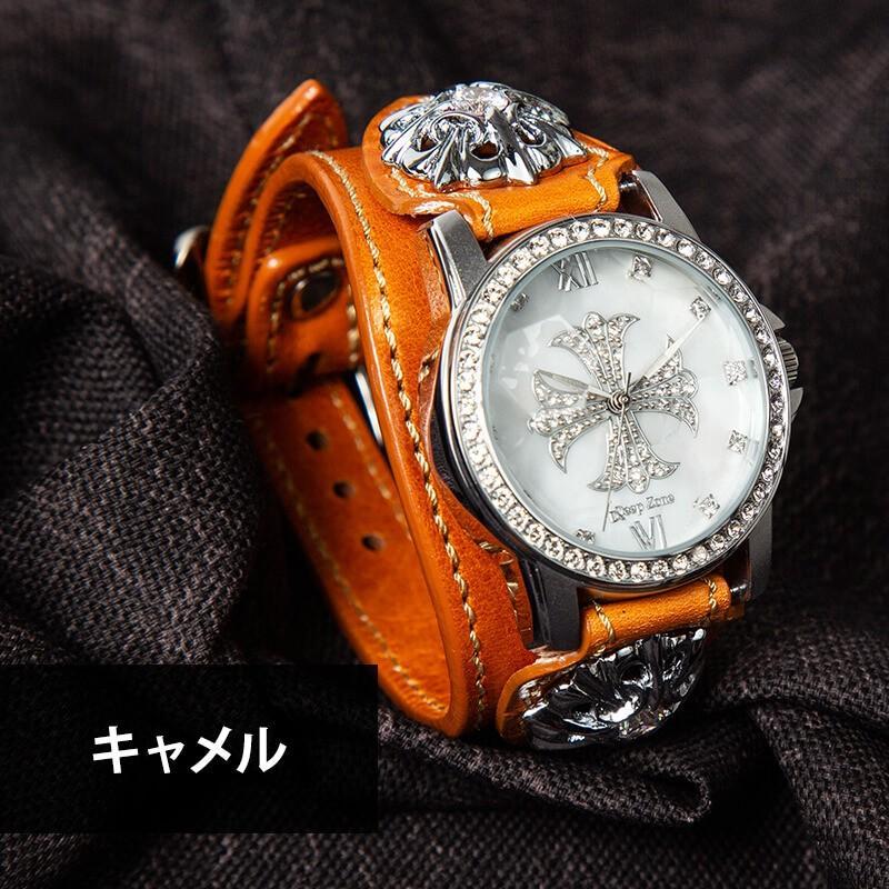 腕時計 メンズ 本革 イタリンレザー ベルト シェル クロス 文字盤 星コンチョ カジュアル腕時計 cowbell 08