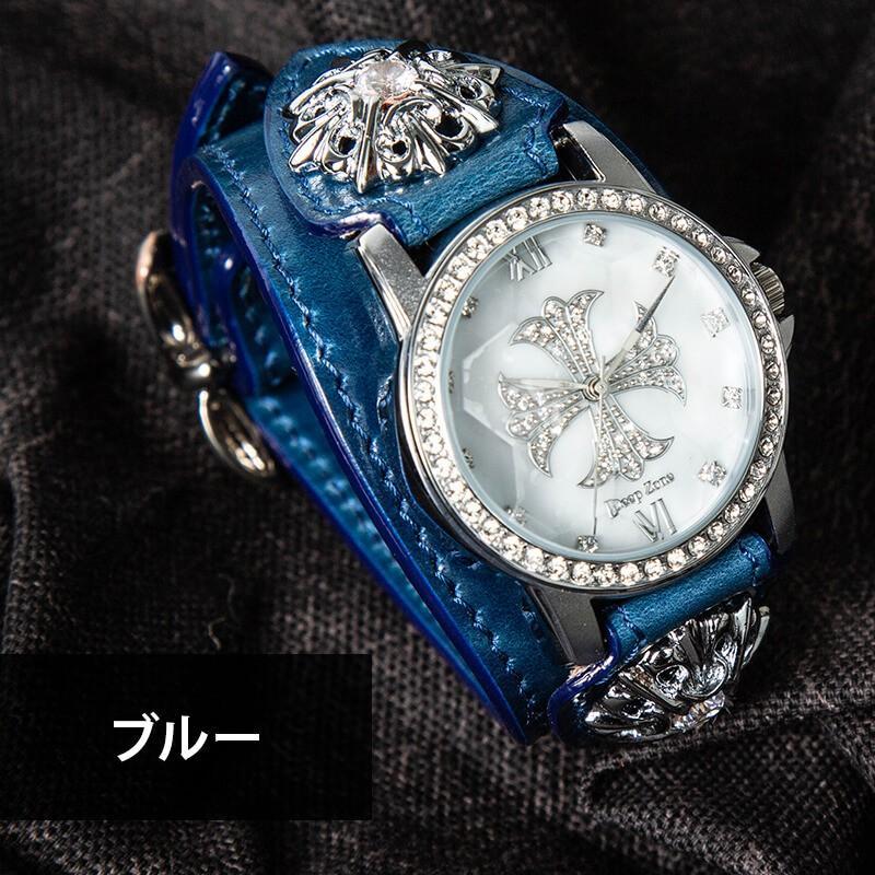 腕時計 メンズ 本革 イタリンレザー ベルト シェル クロス 文字盤 星コンチョ カジュアル腕時計 cowbell 09
