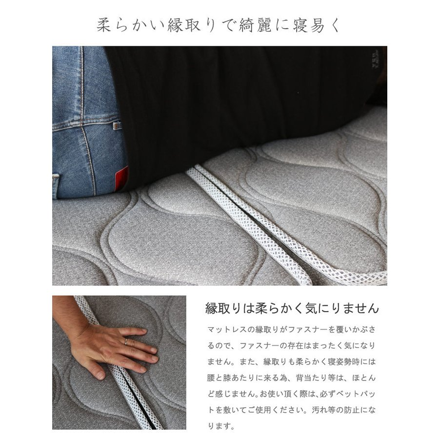 腰痛 対策 マットレス シングル 3分割式  高反発ウレタンマット 密度35D 7層 10cm メッシュ|crescent|16
