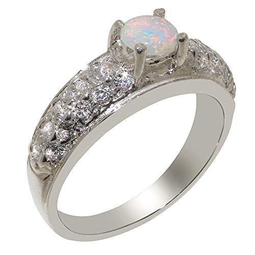 1着でも送料無料 英国製(イギリス製) K18 ホワイトゴールド 天然 オパール 天然 ダイヤモンド レディース リング 指輪 各種 サイズ あり, しずおかけん 662979a2