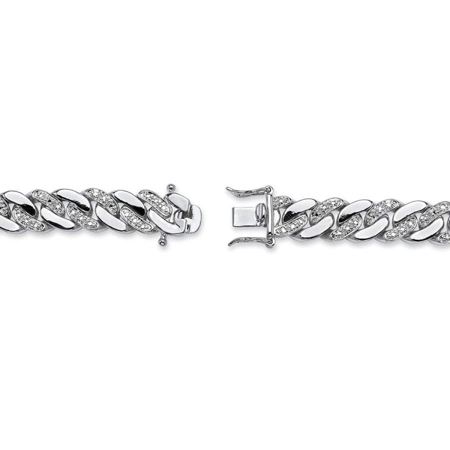 値頃 メンズplatinum-plated 9?mm curb-linkブレスレット( 9?mm )、ダイヤモンドアクセント、8.5?